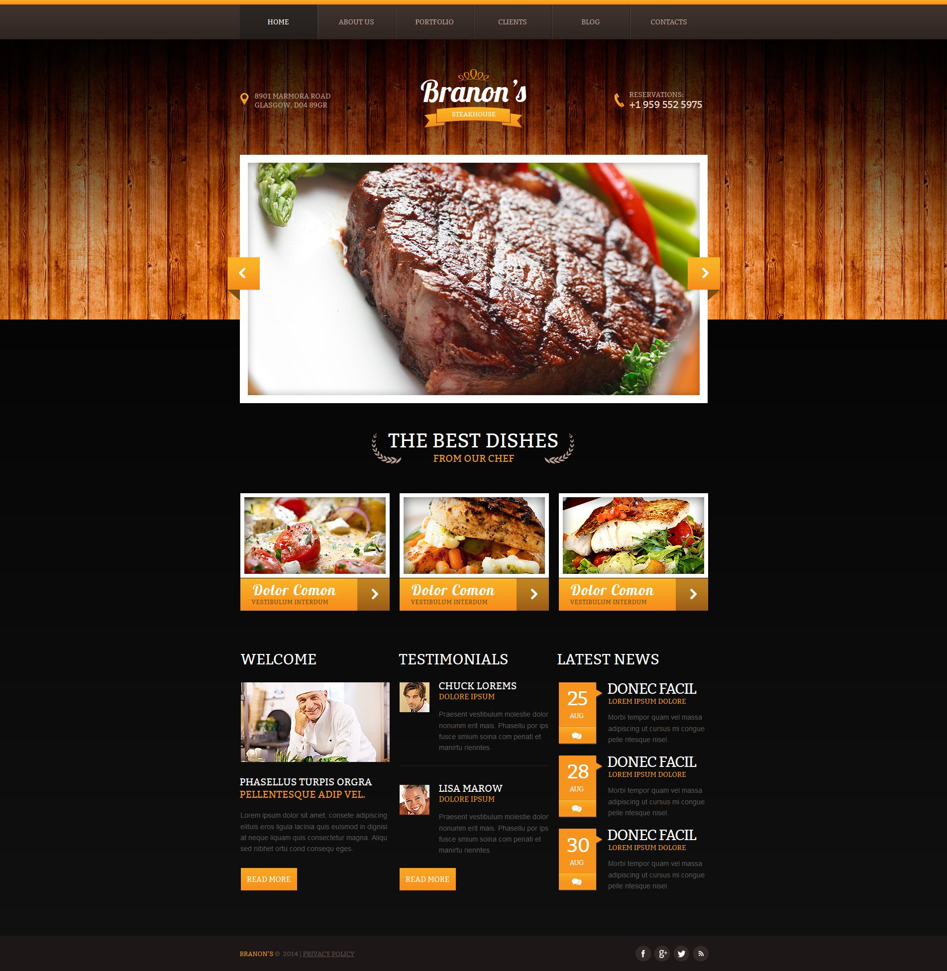 Steakhouse Moto CMS HTML Template
