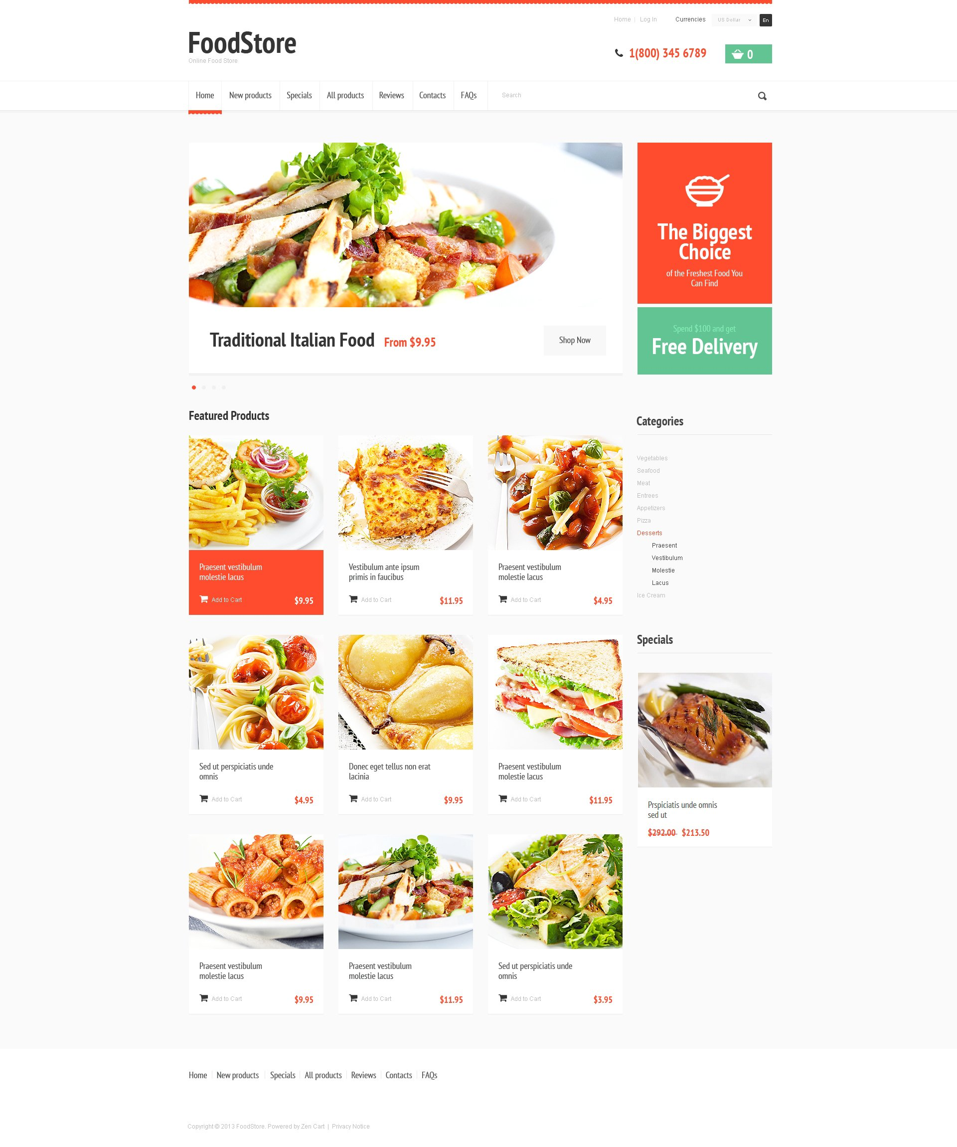 Tasty Food Template ZenCart №47826
