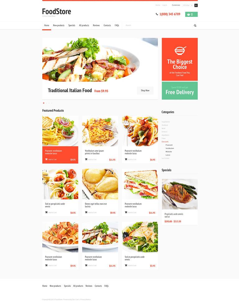 Tasty Food ZenCart Template New Screenshots BIG