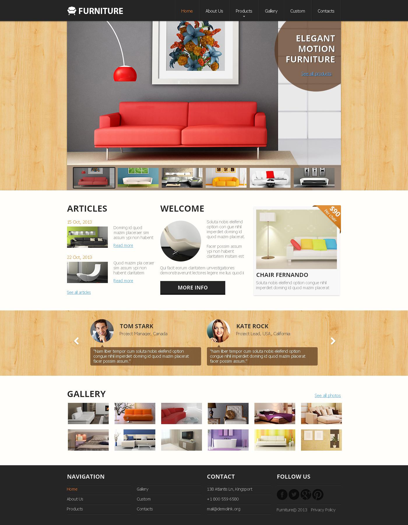 Template siti web 47895 per un sito di arredamento for Siti di arredamento on line