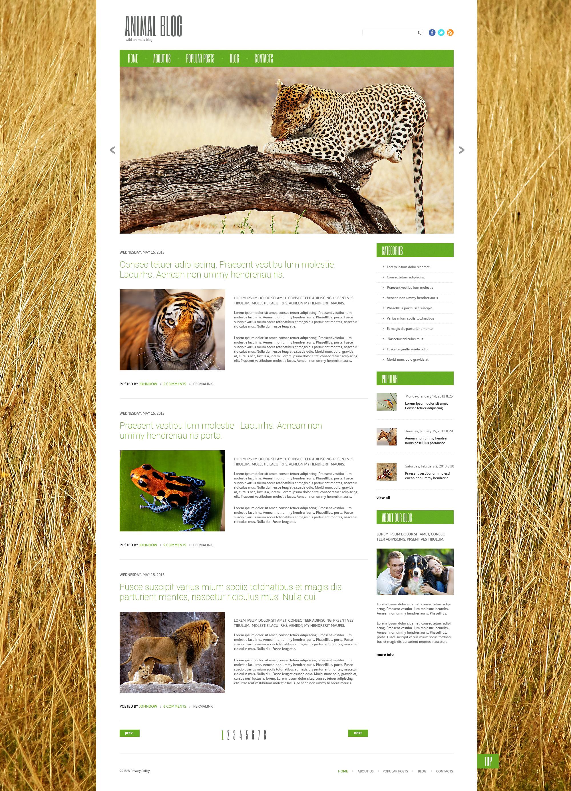 Tema WordPress Flexível para Sites de Vida Selvagem №47833