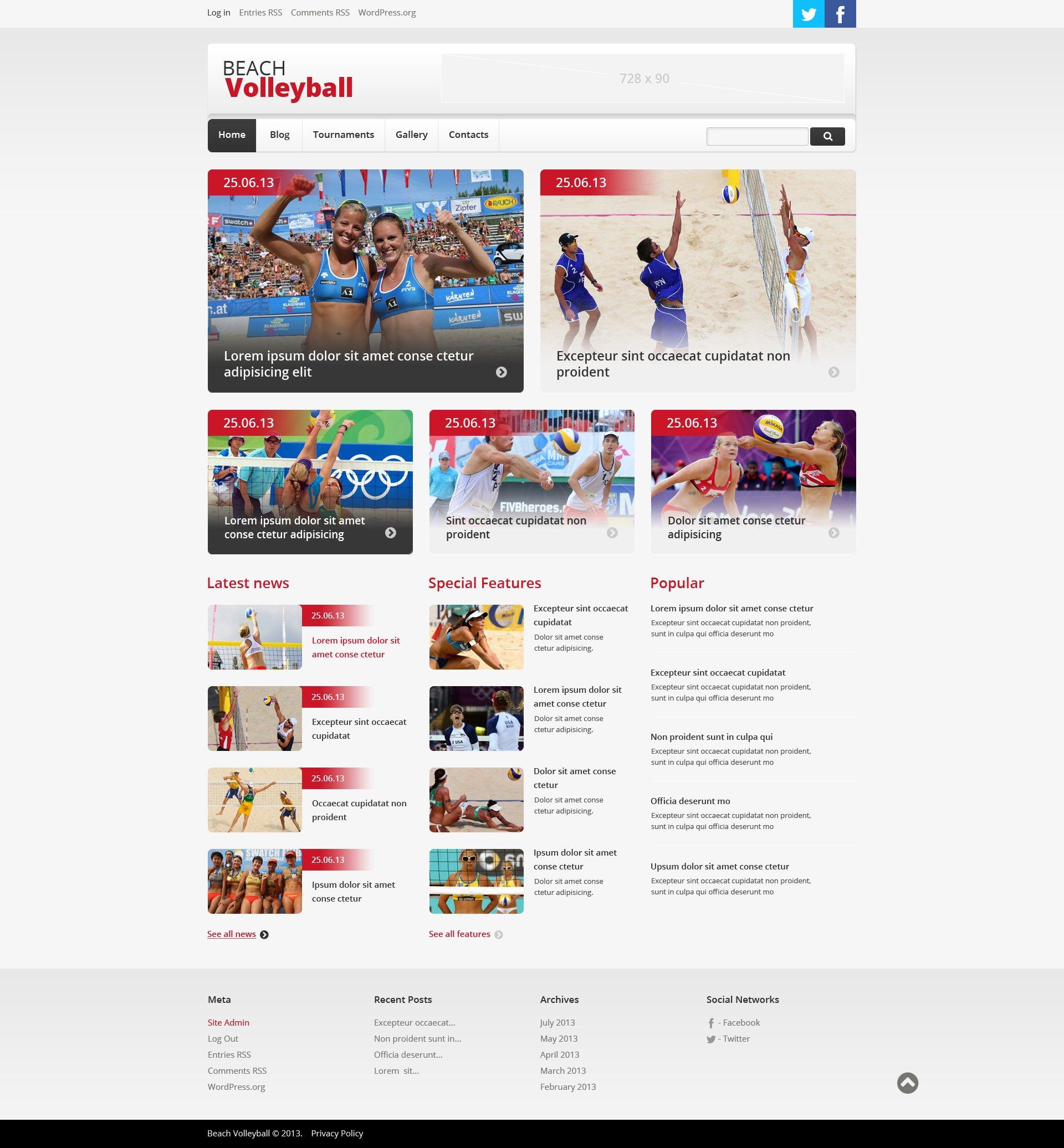 Thème WordPress adaptatif pour site de volley-ball #47858