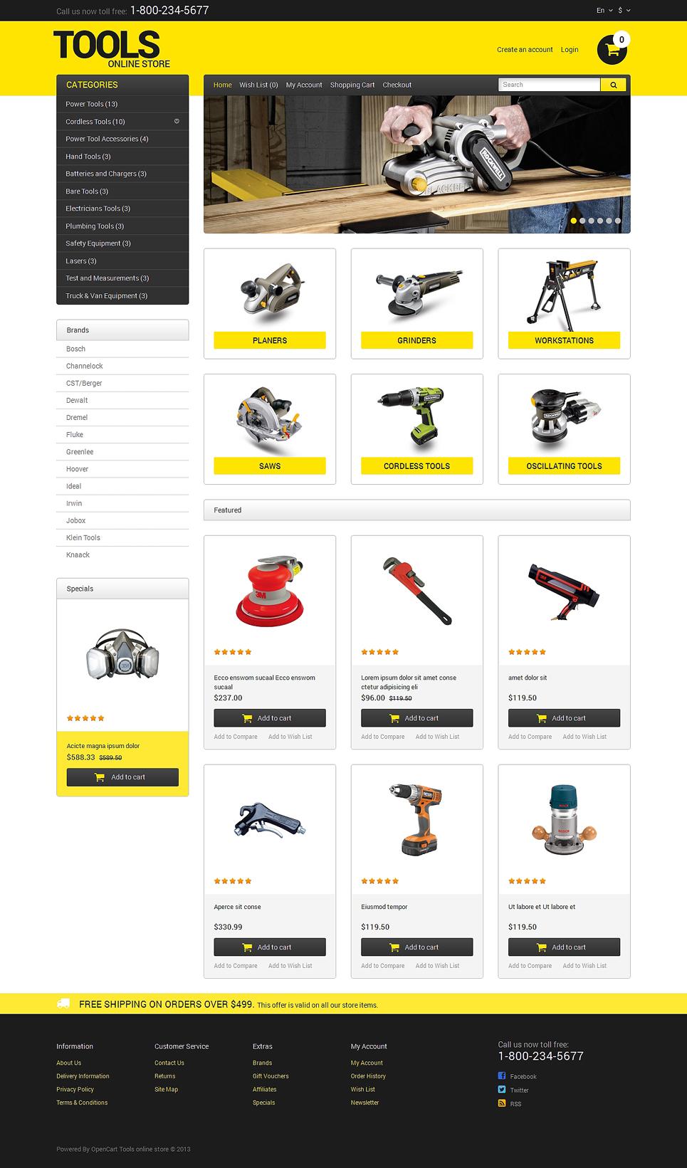 opencart template editor - tools equipment responsive opencart template 47871