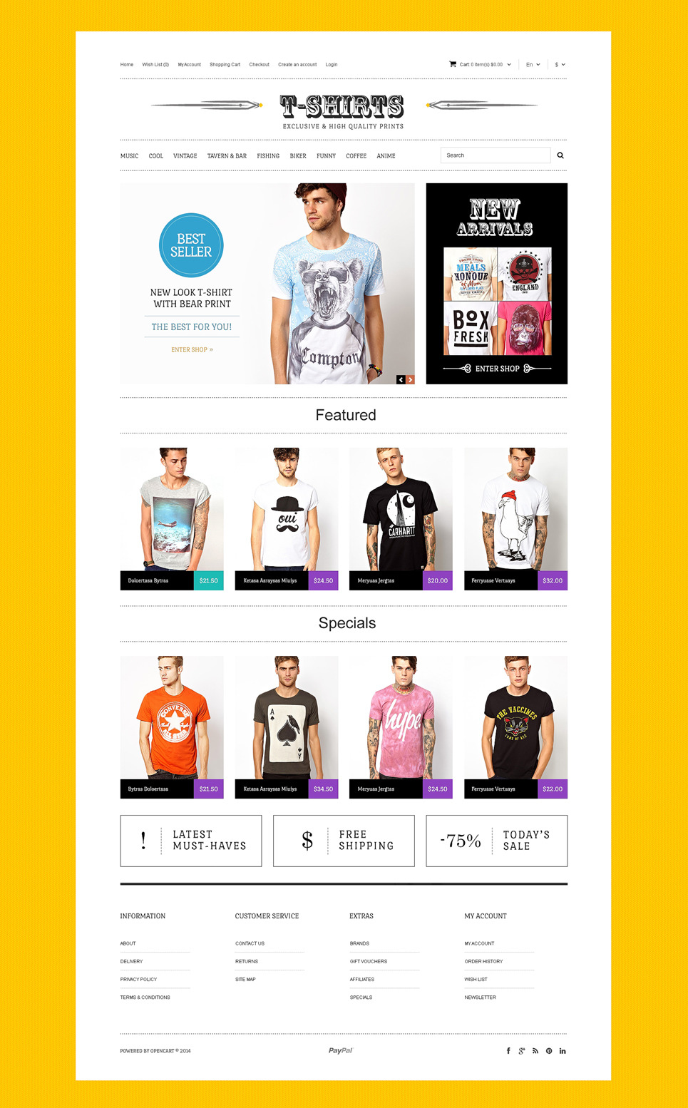TShirts with Uncommon Prints OpenCart Template New Screenshots BIG
