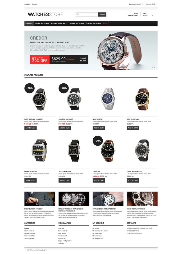 Watches Shop PrestaShop Theme New Screenshots BIG