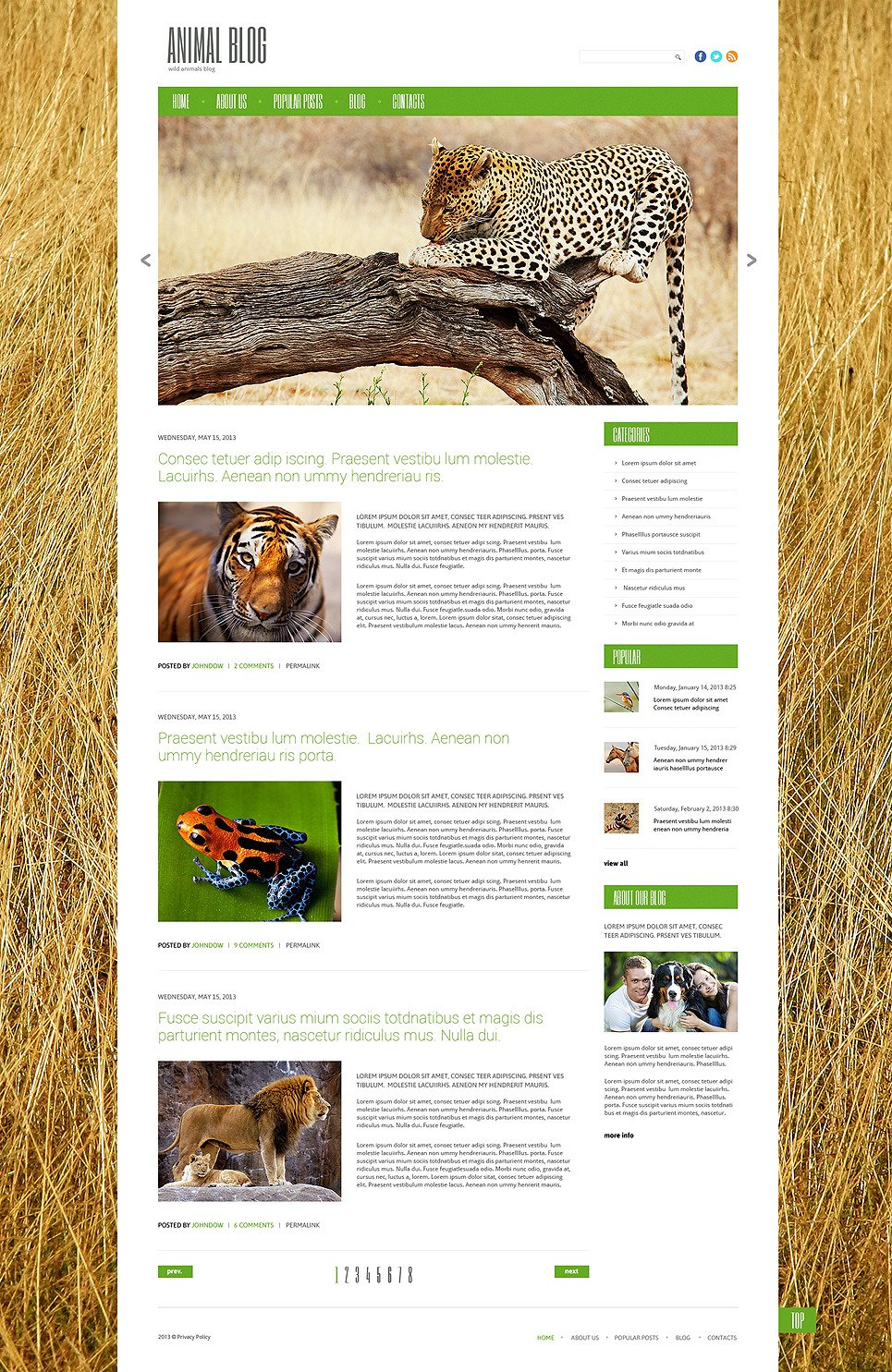 Wild Life Responsive WordPress Theme New Screenshots BIG