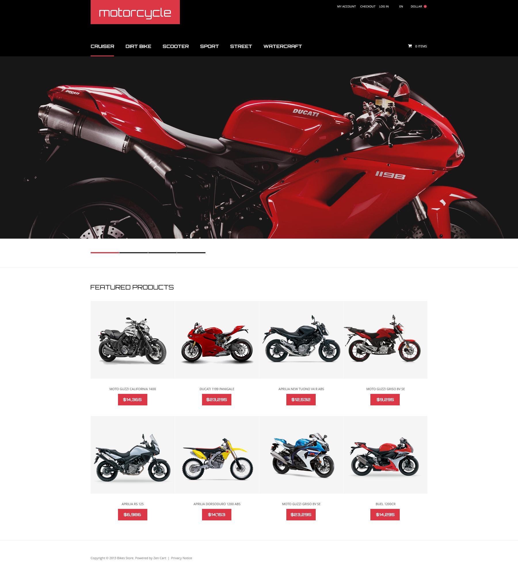 "ZenCart Vorlage namens ""Motorcycle"" #47898"