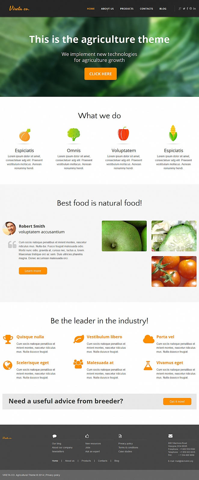 Agriculture Website Template with Content Intensive Layout - image