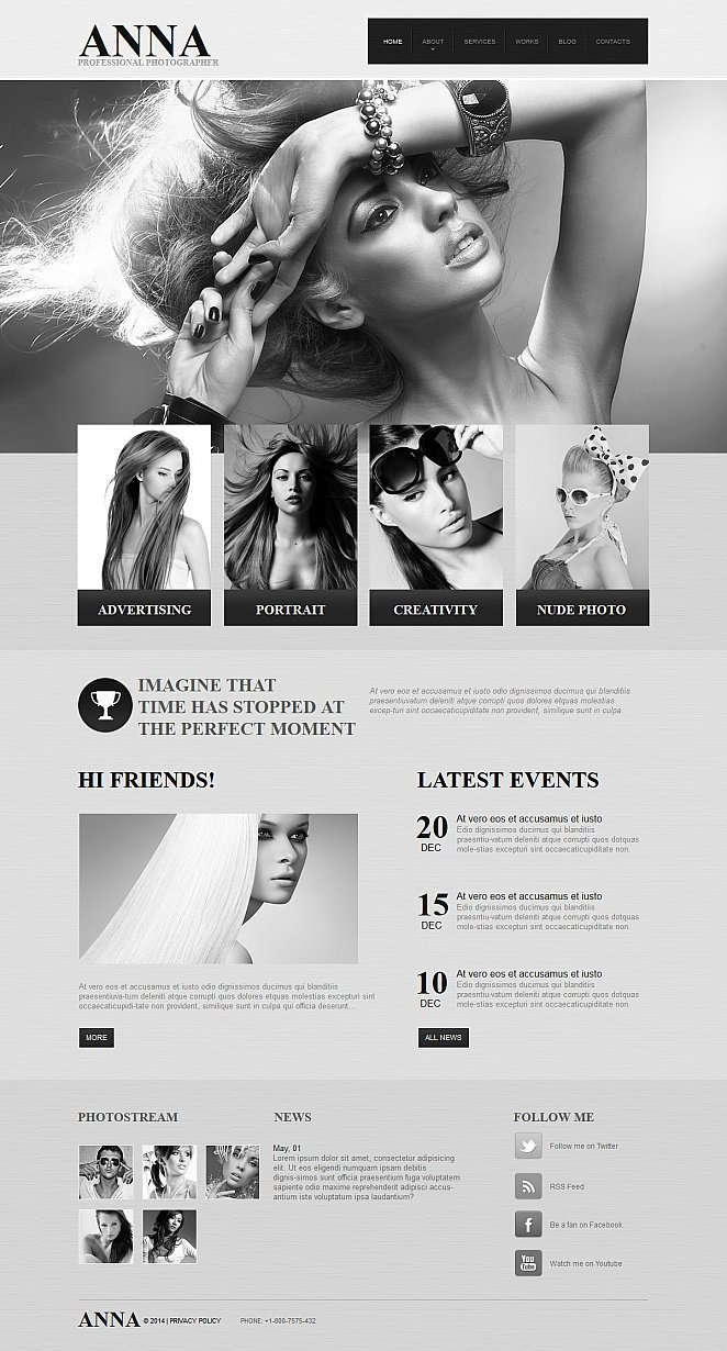 Monochrome Website Template for Photographers - image