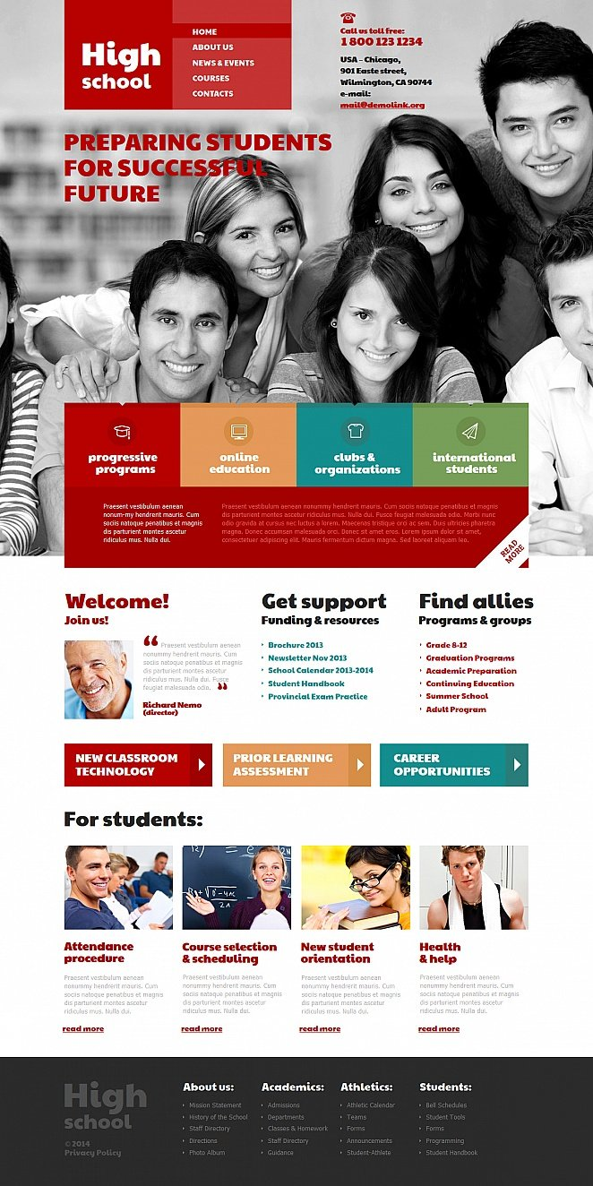 Education Website Template with Red Menu and Typography - image