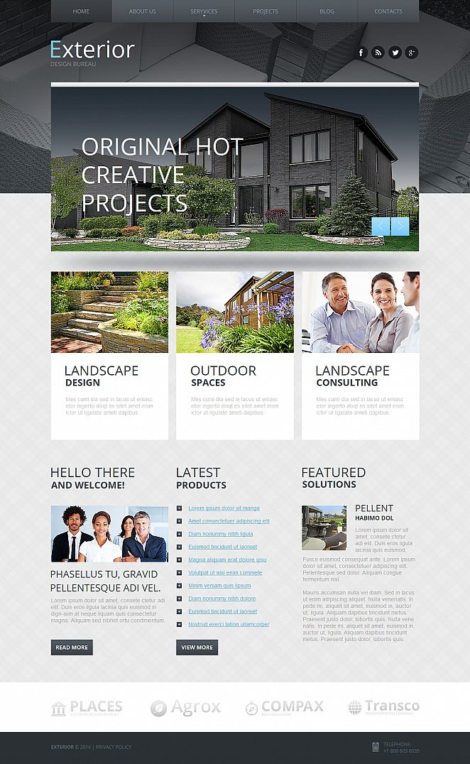 Exterior Design Website Template with Black-and-White Header Image - image