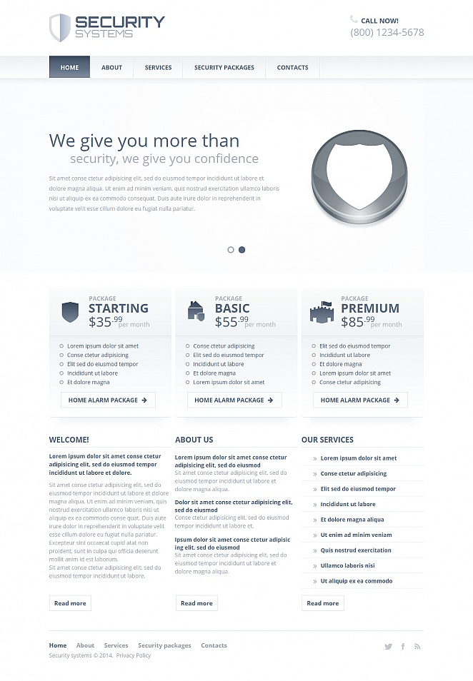 Security Services Web Template Done in Monochromatic Color Scheme - image