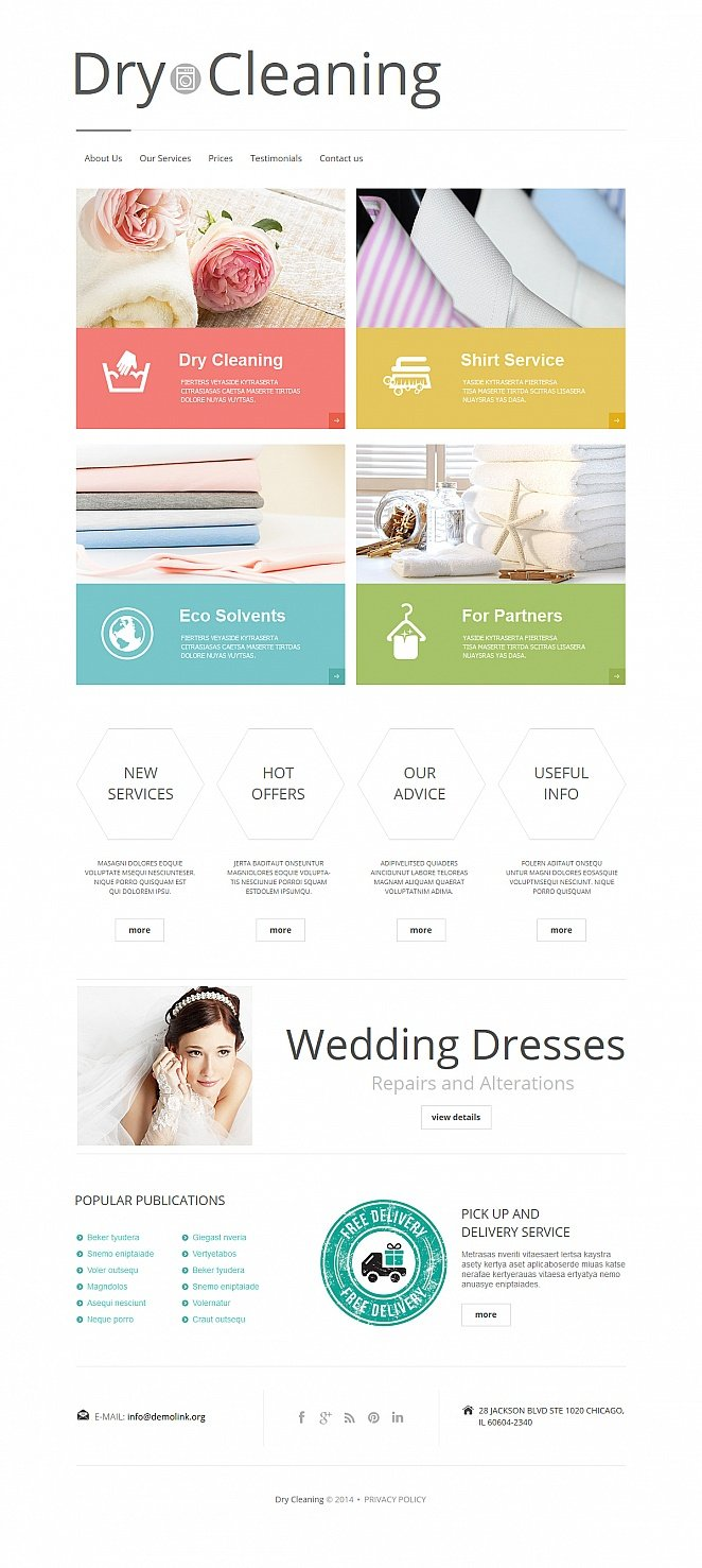 White Dry Cleaning Template with Illustrated Content Boxes - image
