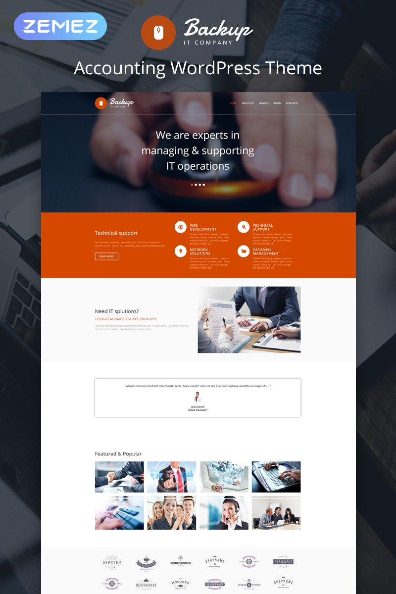 Accounting Website Responsive WordPress Theme #47929