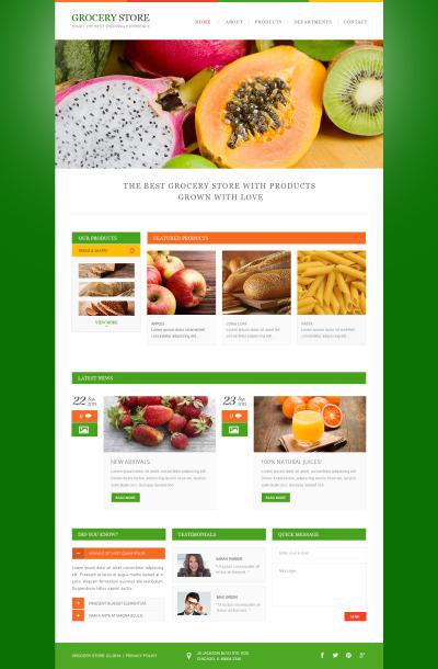 Адаптивный HTML шаблон №47911 на тему магазин еды
