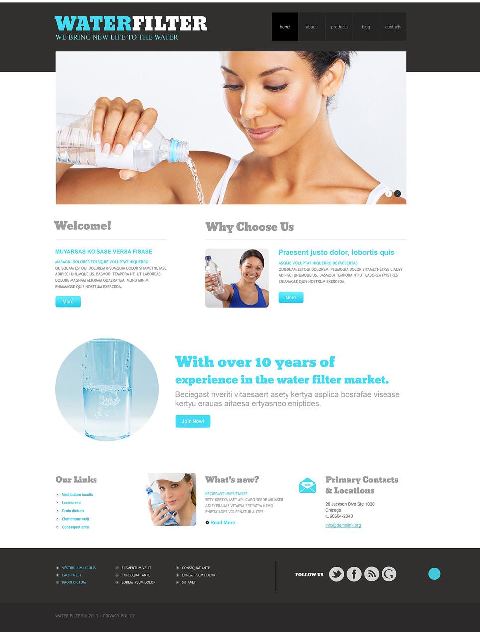Адаптивный шаблон сайта на тему вода #47940