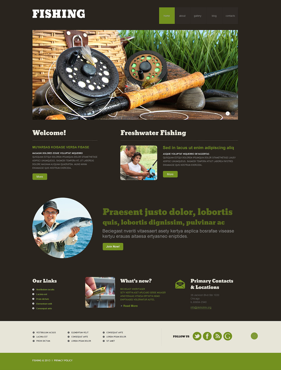 Адаптивный шаблон сайта на тему рыбалка #47941