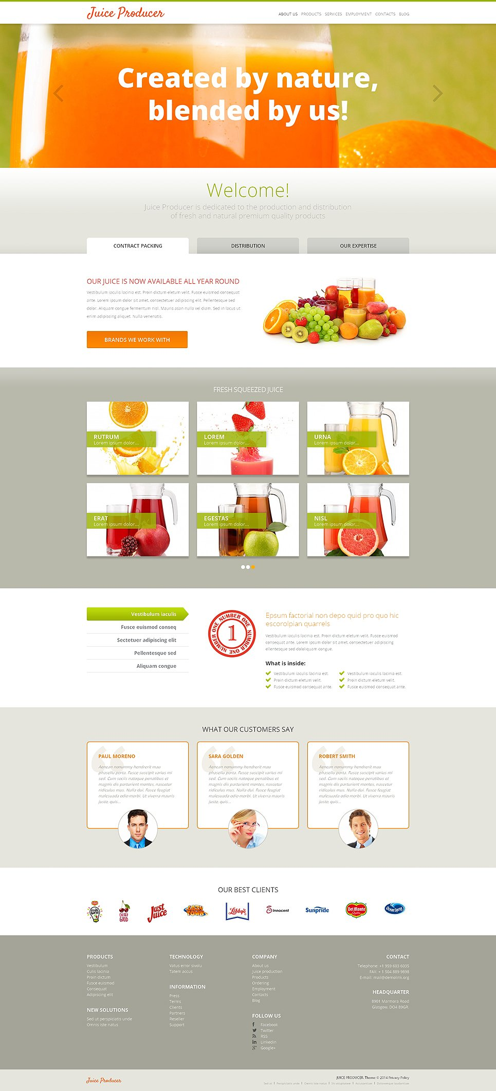 Адаптивный шаблон сайта на тему напитки и еда #47992