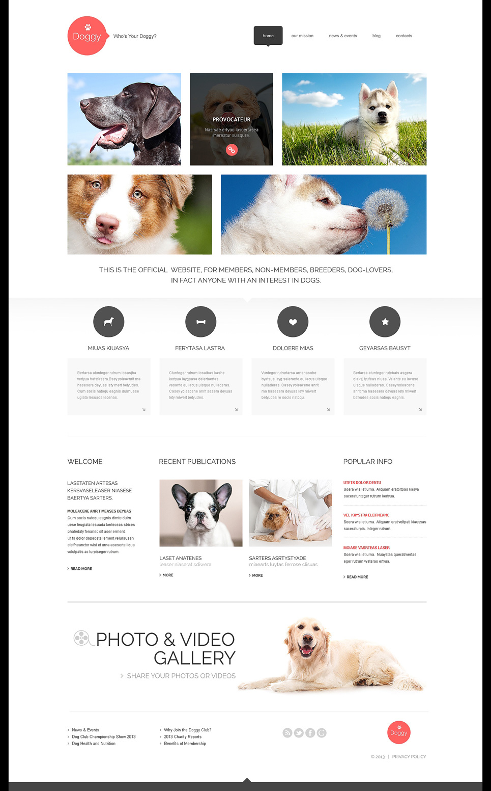 Адаптивный шаблон сайта на тему собаки #47998