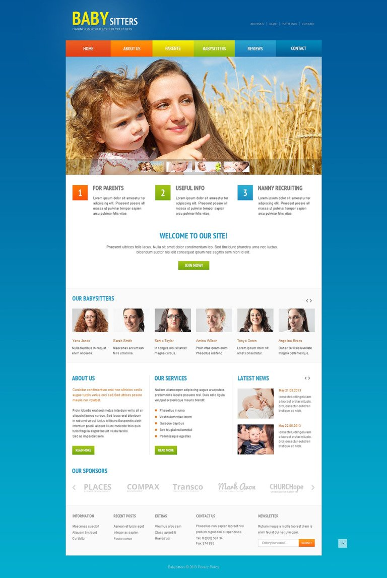 Babysitter Responsive Website Template New Screenshots BIG