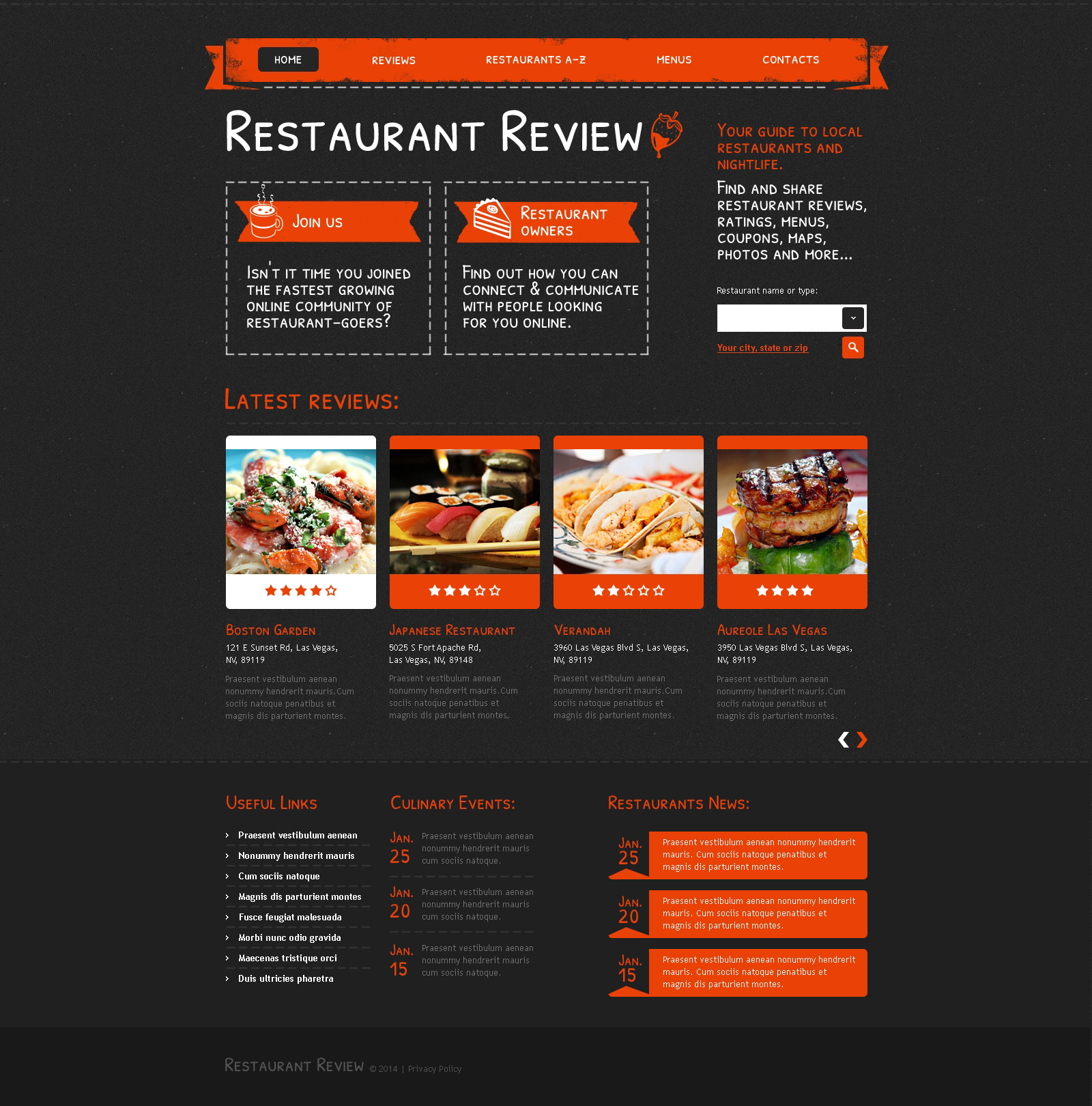 cafe and restaurant responsive website template 47986