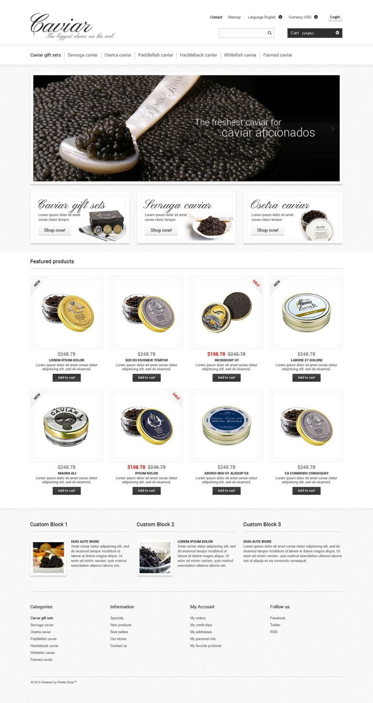 Caviar Online Store PrestaShop Theme New Screenshots BIG