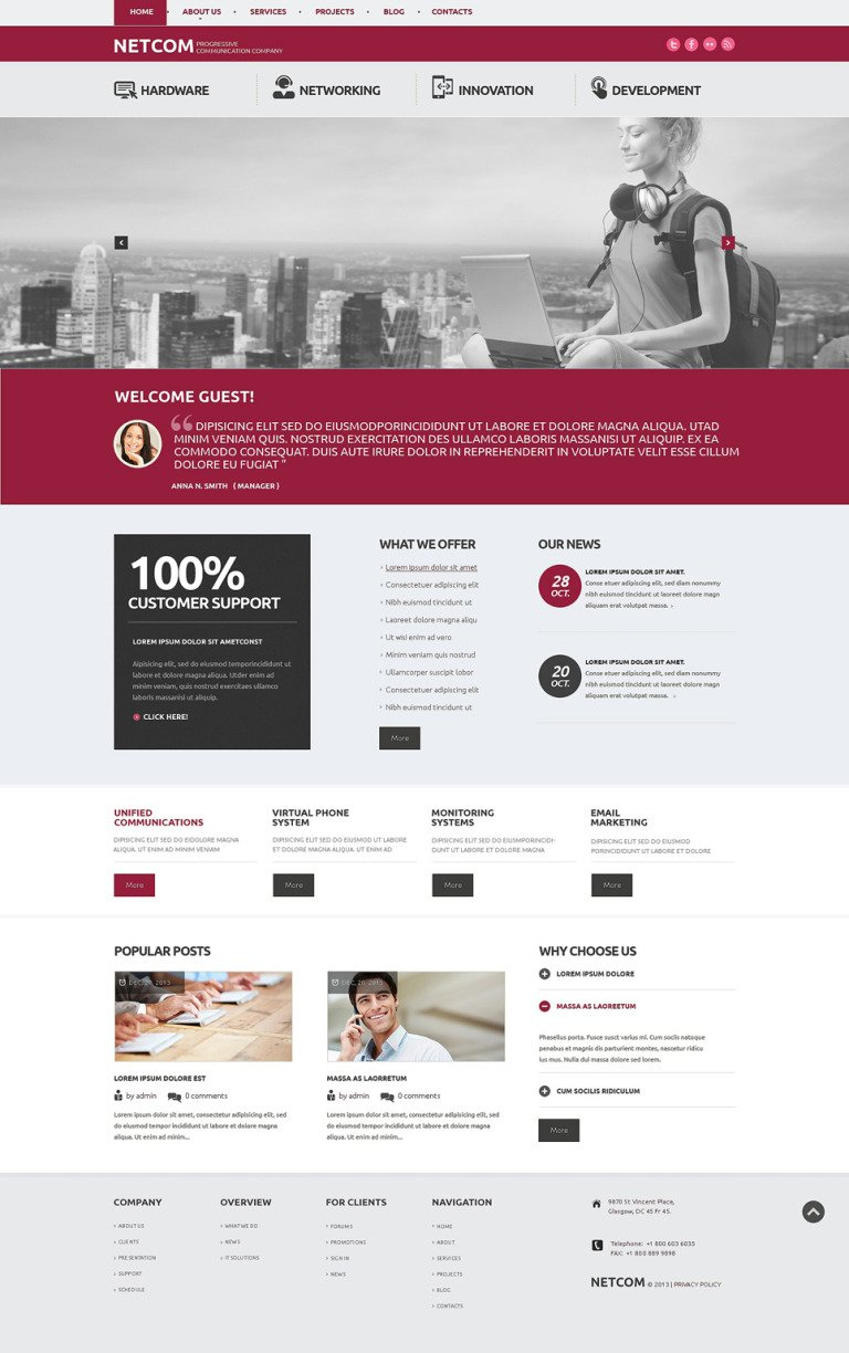 Communication Company WordPress Theme New Screenshots BIG