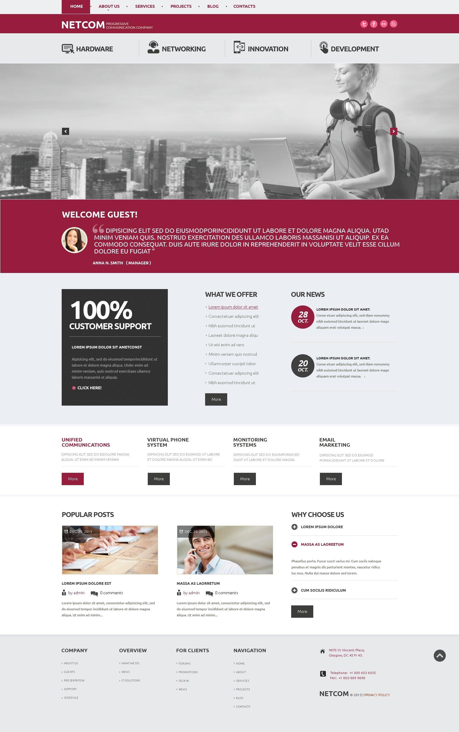 Communication Company WordPress Theme - screenshot