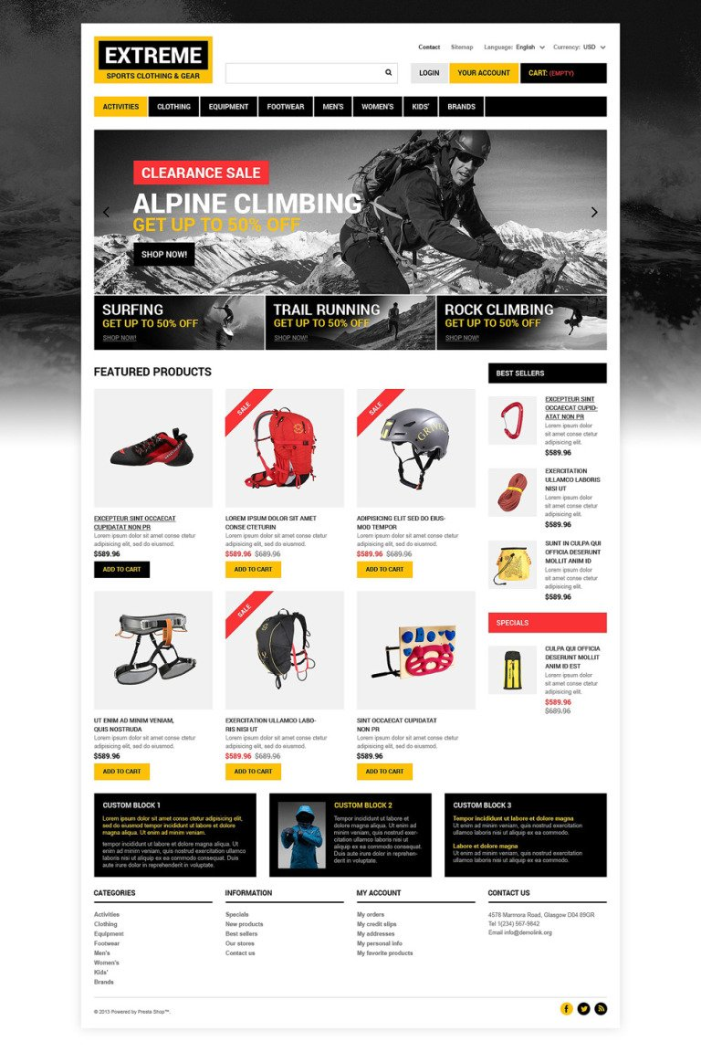Extreme Sports Clothing PrestaShop Theme New Screenshots BIG