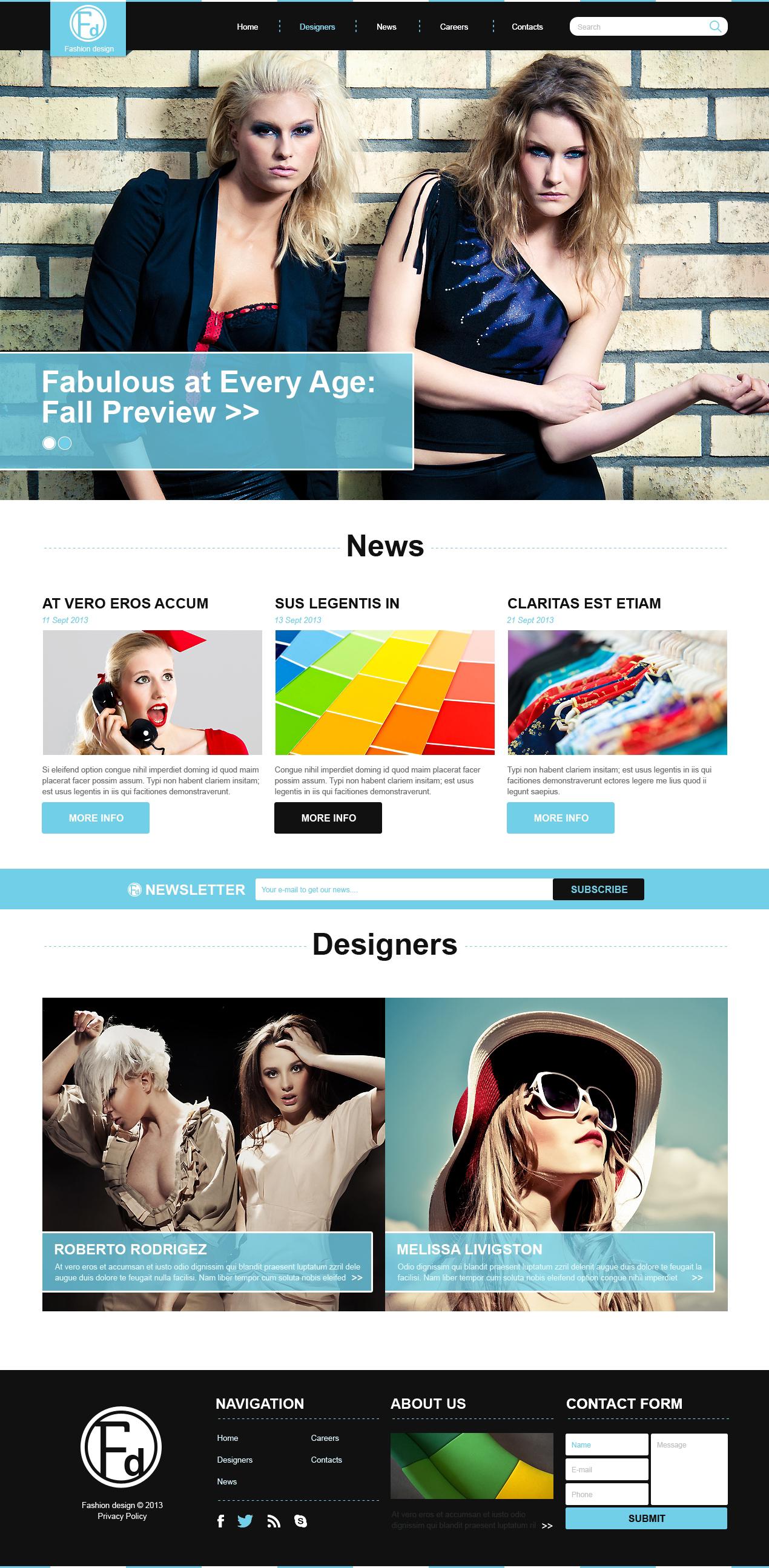 """Fashion Design School"" 响应式Joomla模板 #47945 - 截图"