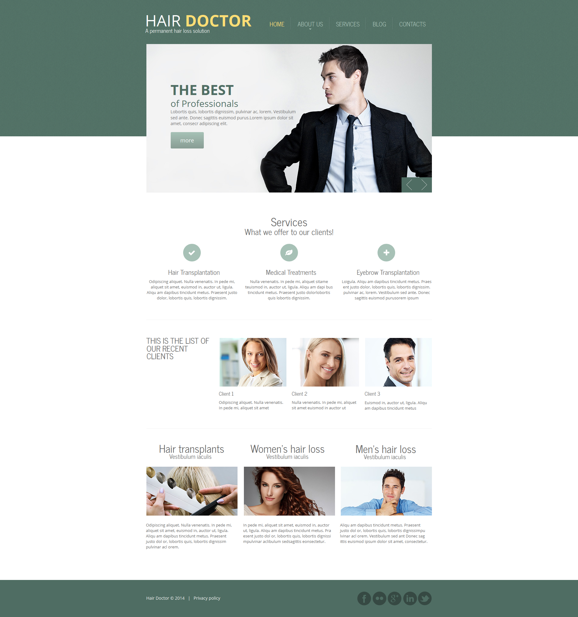 Hair Clinic Moto CMS HTML Template