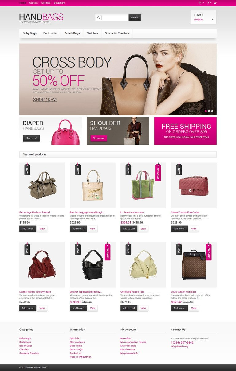 Handbags Store PrestaShop Theme New Screenshots BIG