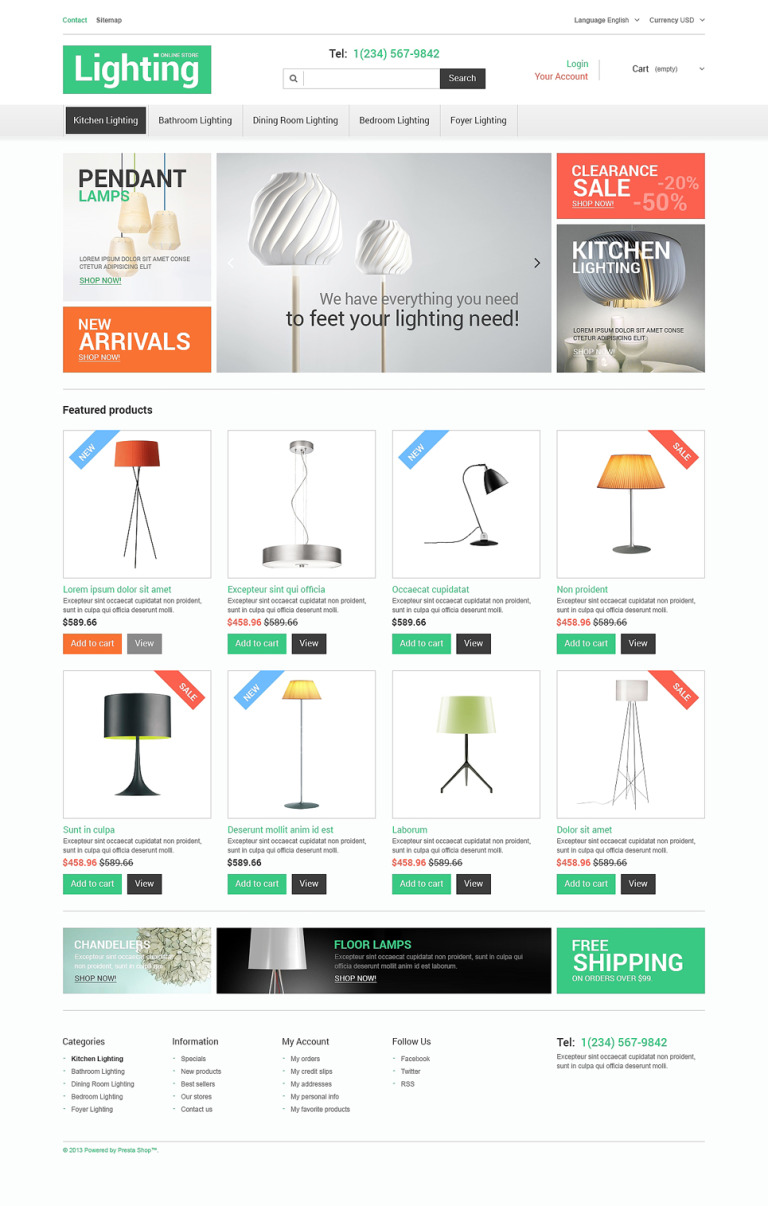 Lighting Store PrestaShop Theme New Screenshots BIG