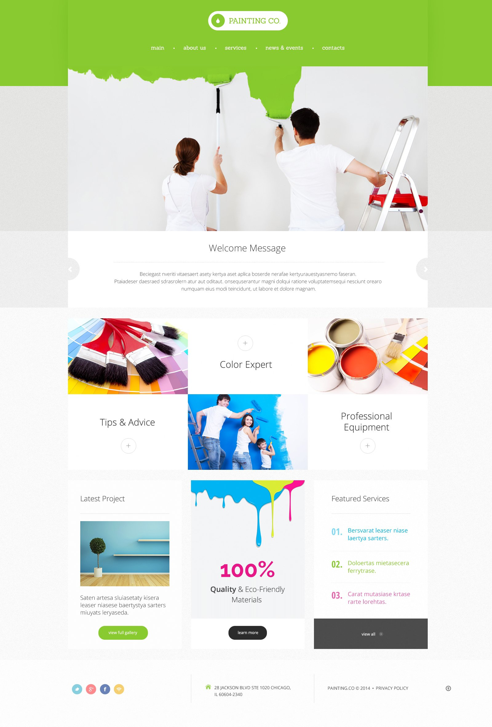 Paint colors website - Painting Company Responsive Website Template