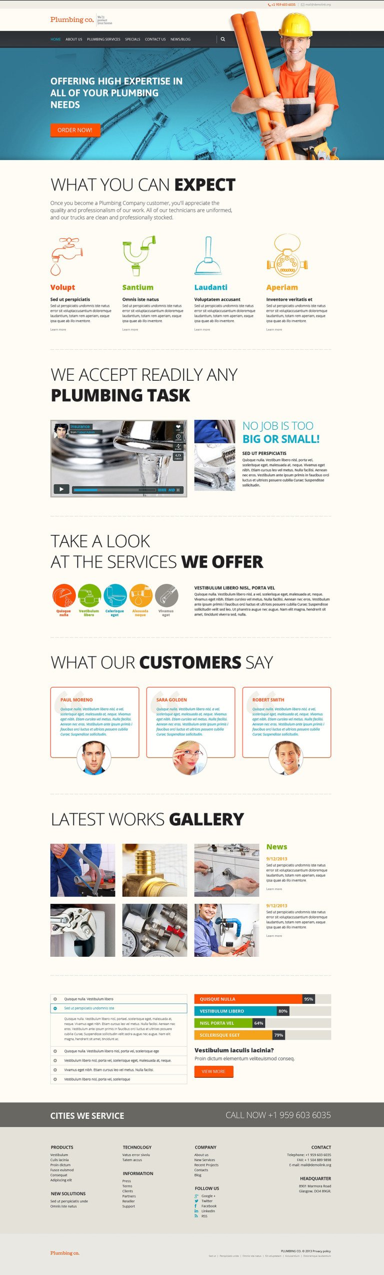 Plumbing Services WordPress Theme New Screenshots BIG