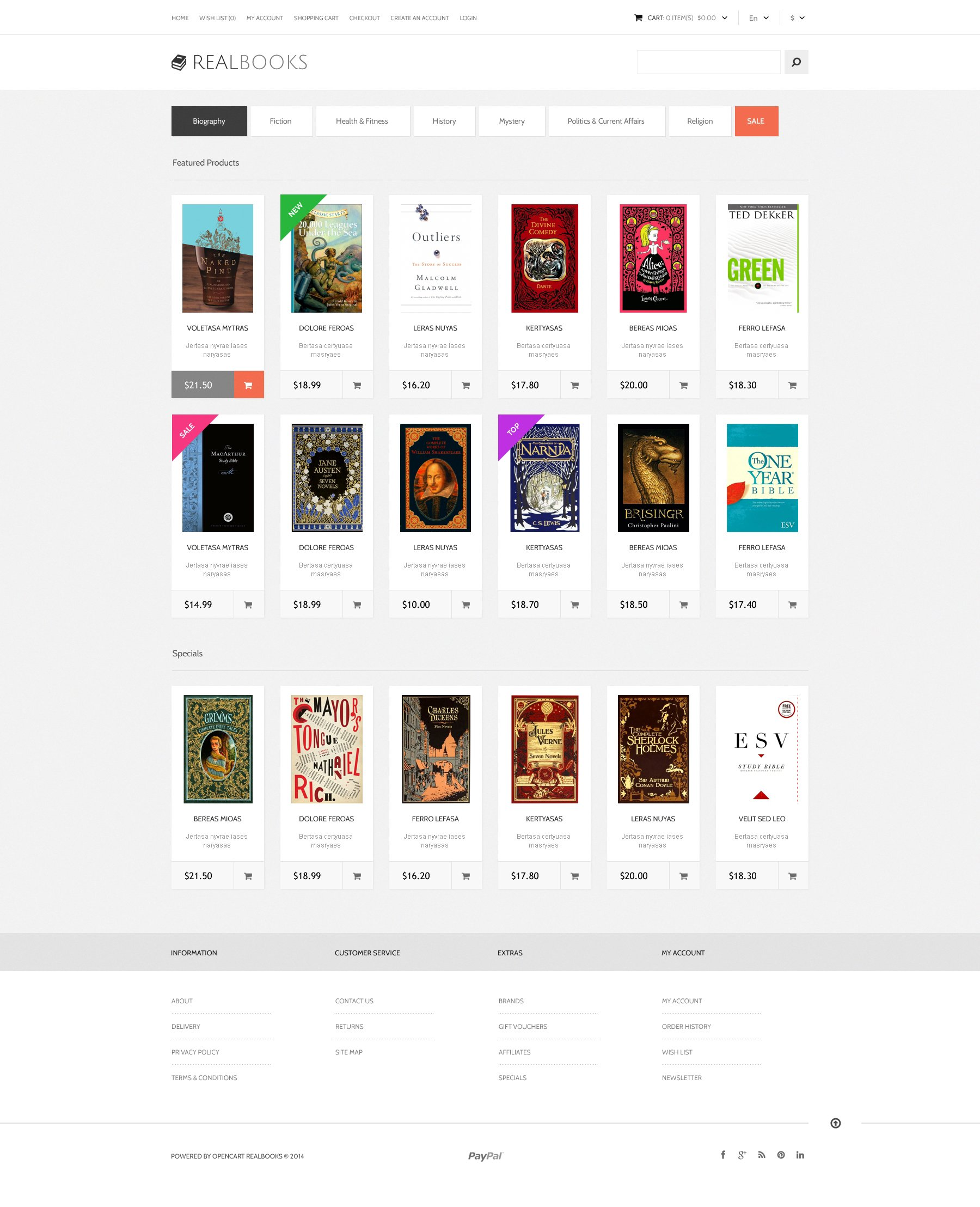 Real Books OpenCart Template - Online book template free