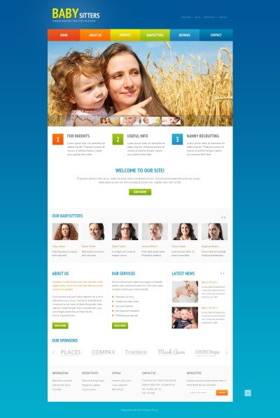 Babysitter Responsive Web Sitesi Şablonu