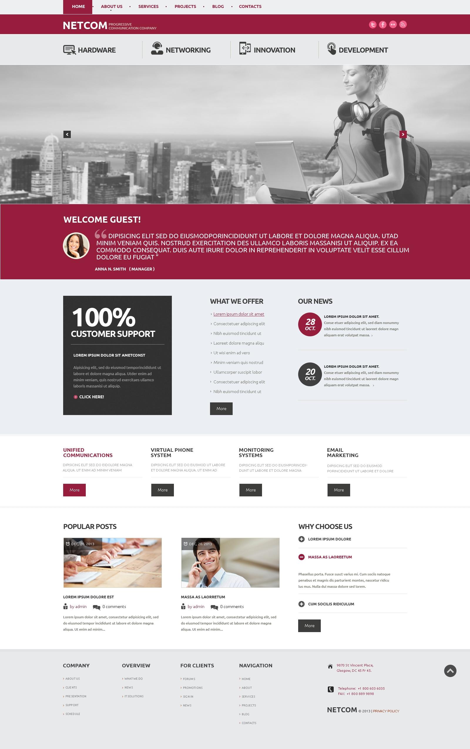 Responsive Communication Company Wordpress #47924 - Ekran resmi