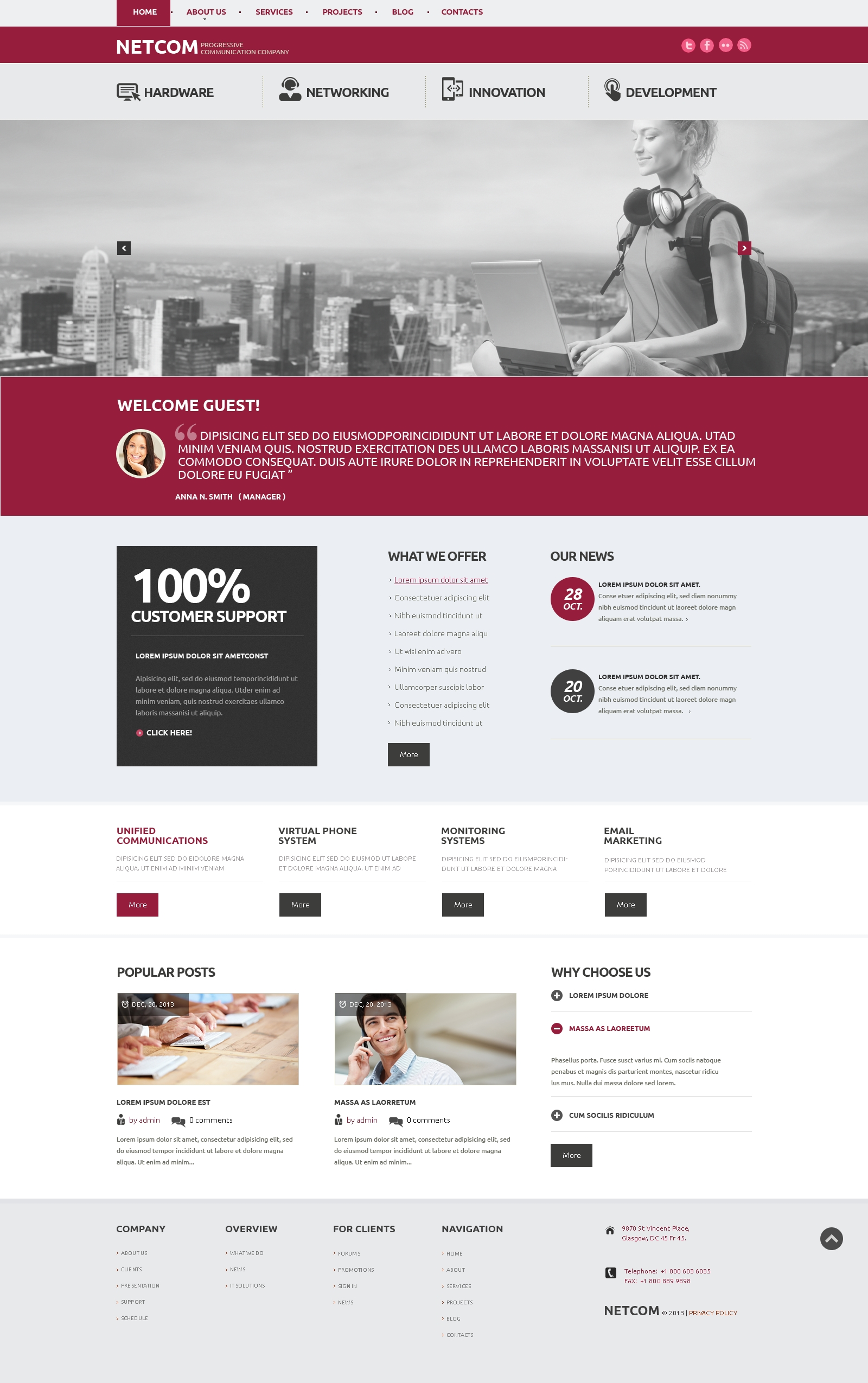 Reszponzív Communication Company WordPress sablon 47924 - képernyőkép