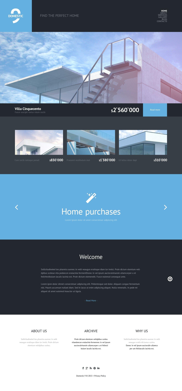 Reszponzív Real Estate Agency WordPress sablon 47928 - képernyőkép