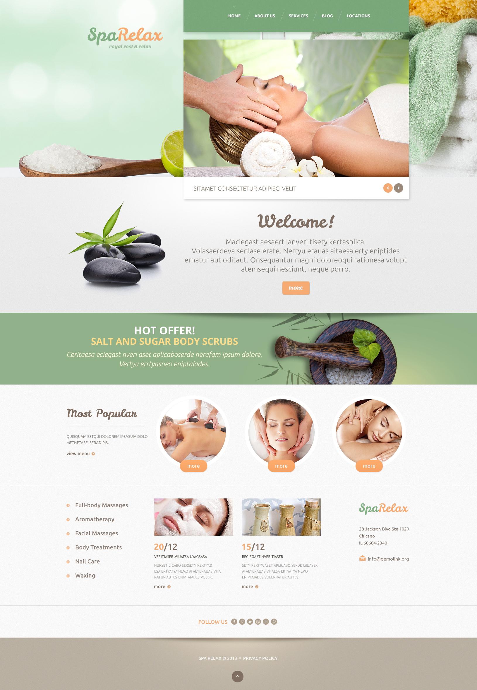 Reszponzív Spa salon WordPress sablon 47994 - képernyőkép