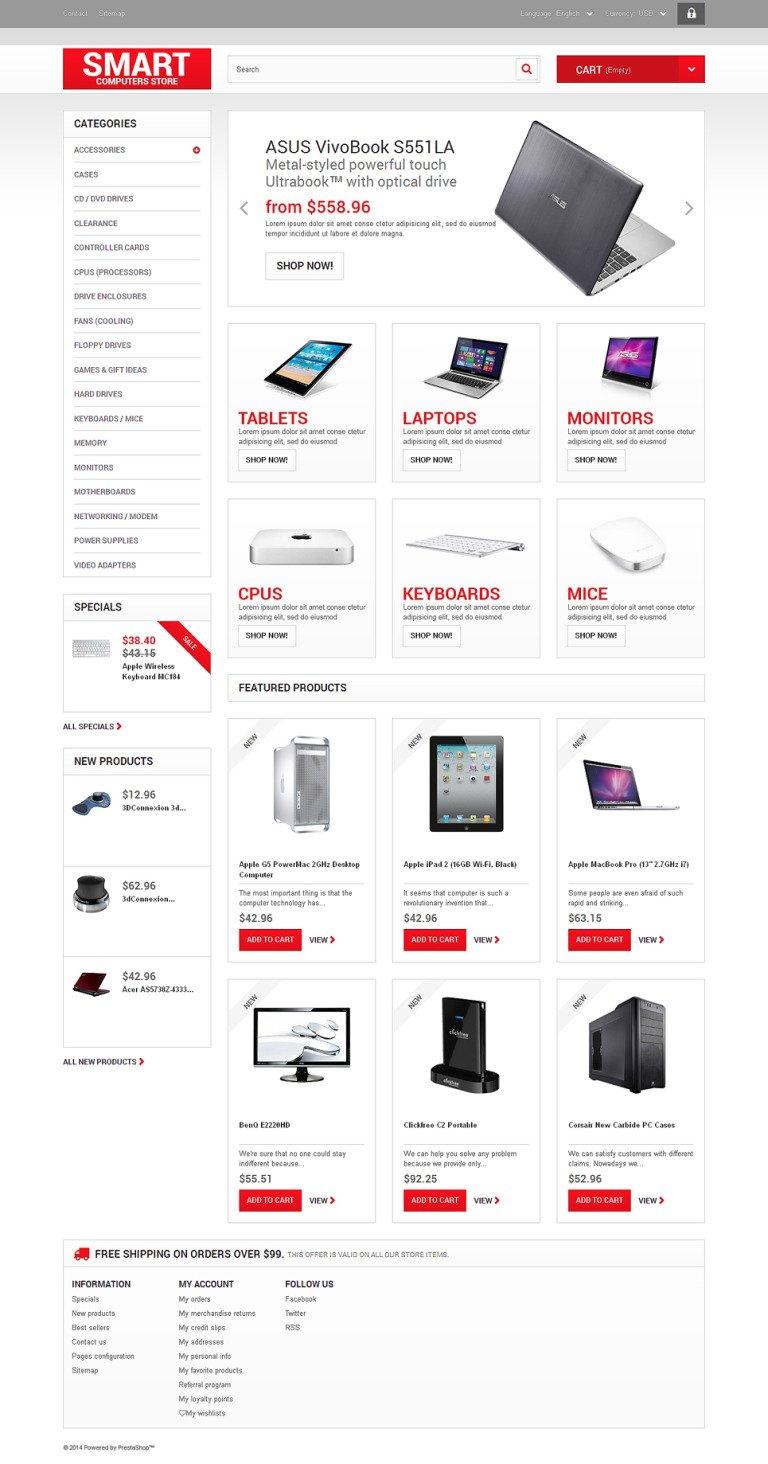 Smart Computers Store PrestaShop Theme New Screenshots BIG