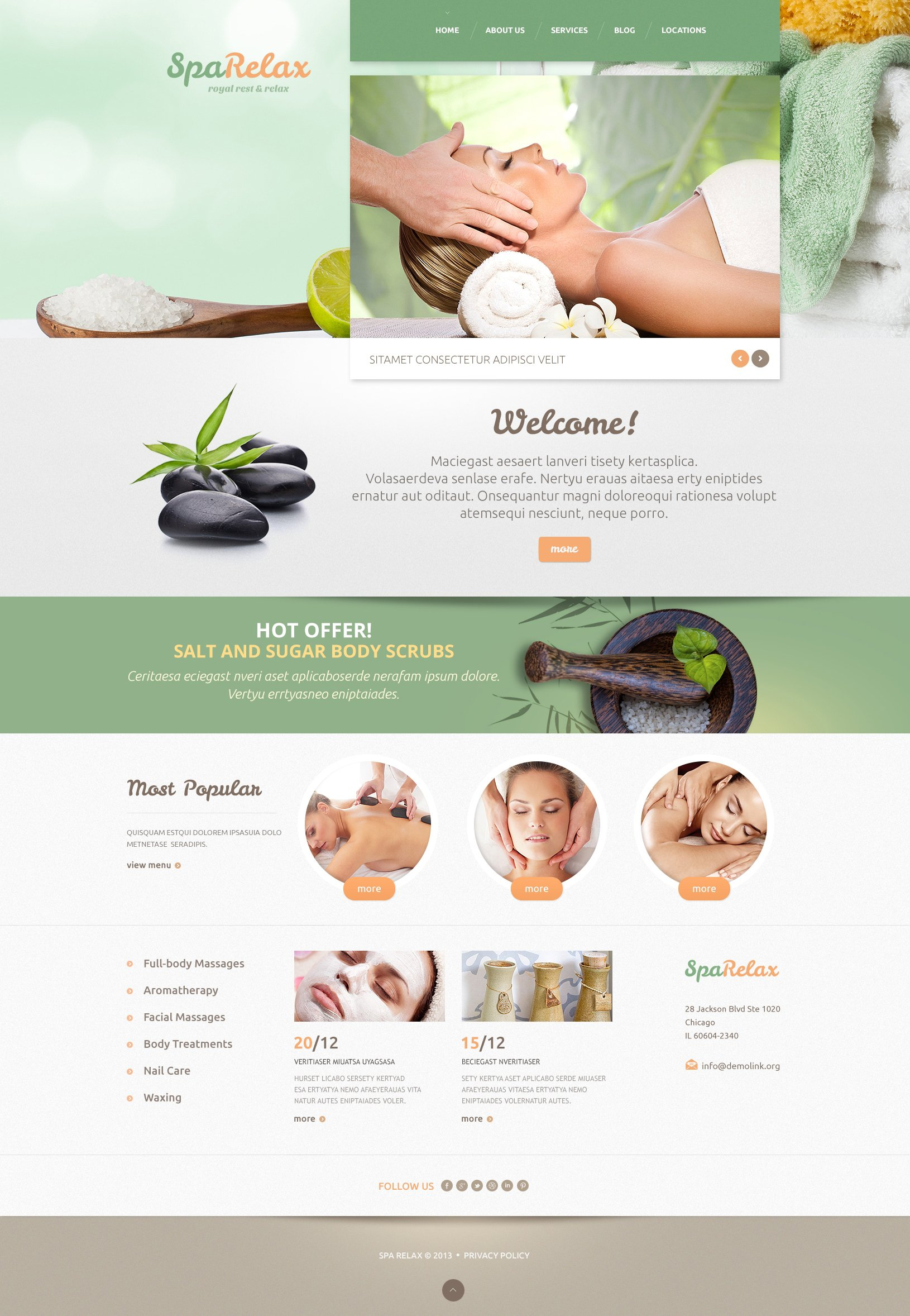 Spa salon WordPress Theme - screenshot