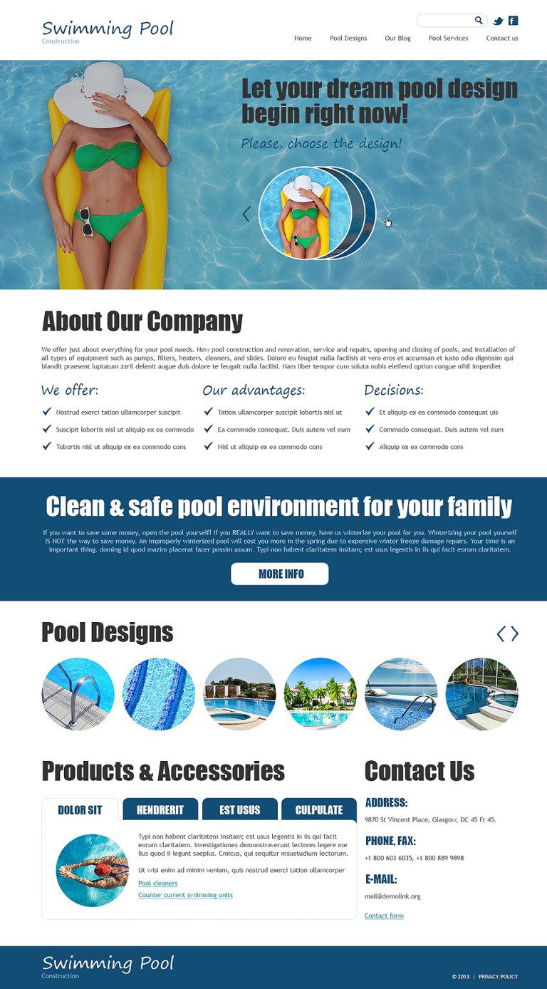 Swimming Pool Joomla Template New Screenshots BIG