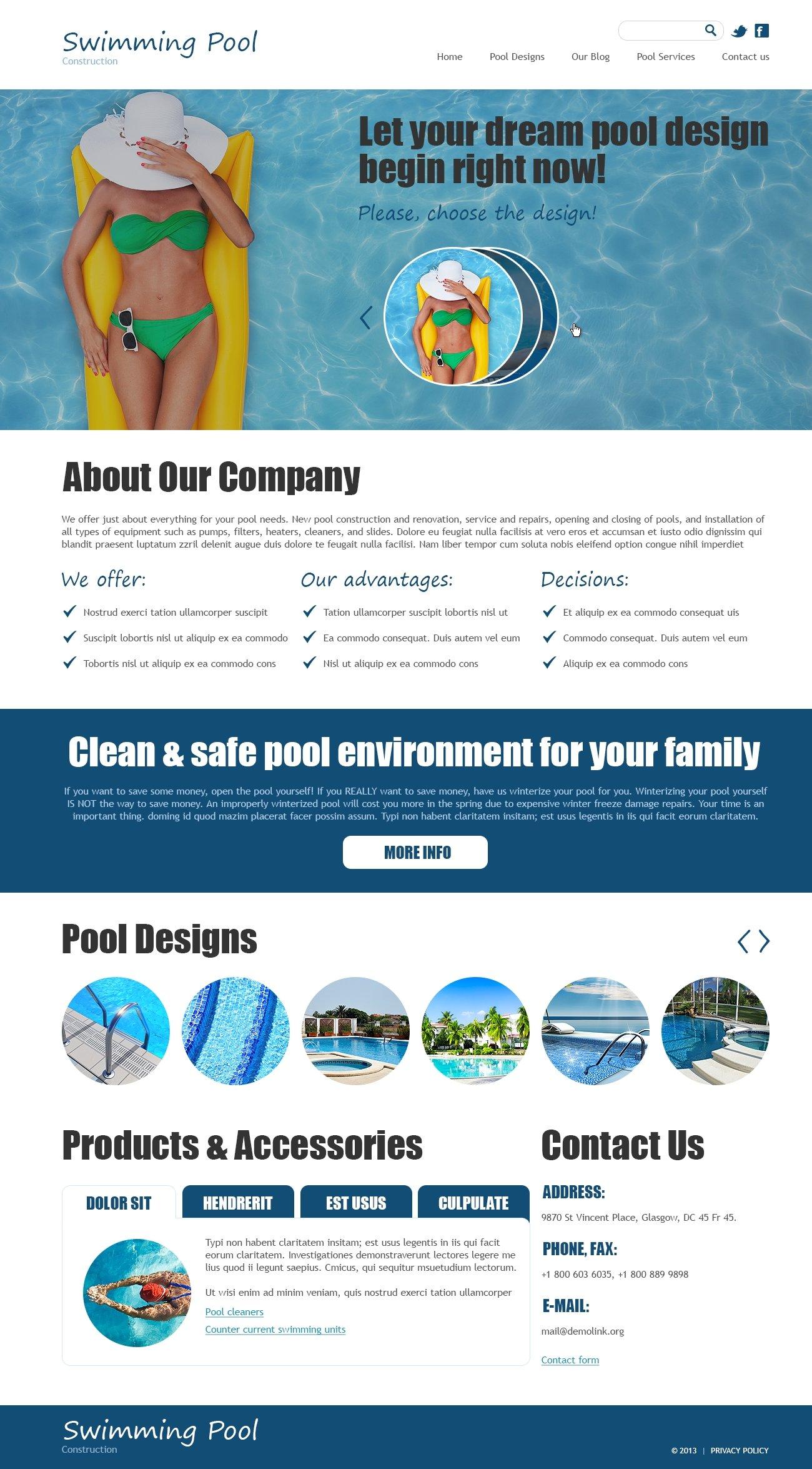 Swimming Pool Joomla Template 47908