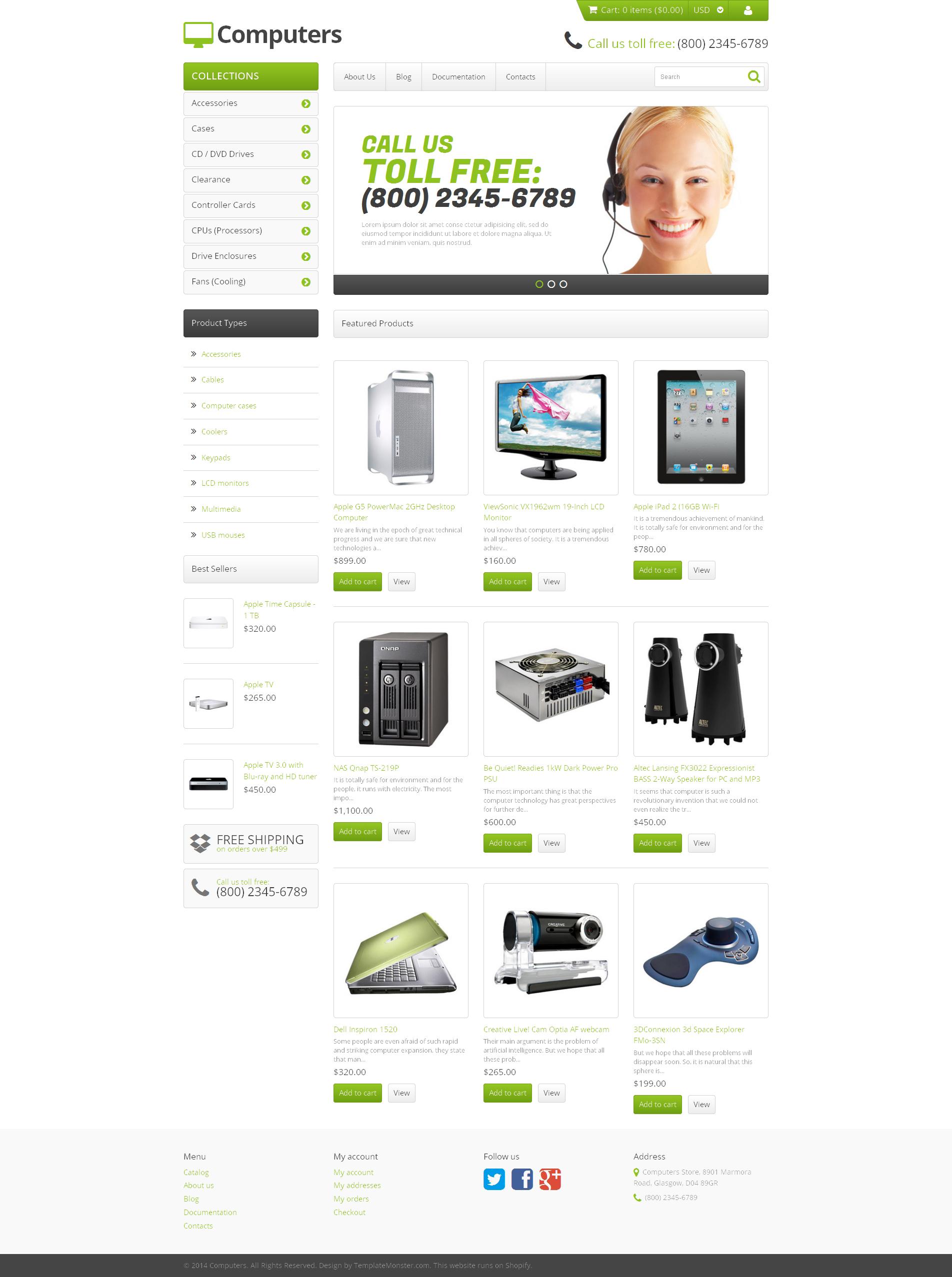 Tema Shopify Responsive para Sitio de Tienda de Ordenadores #47942