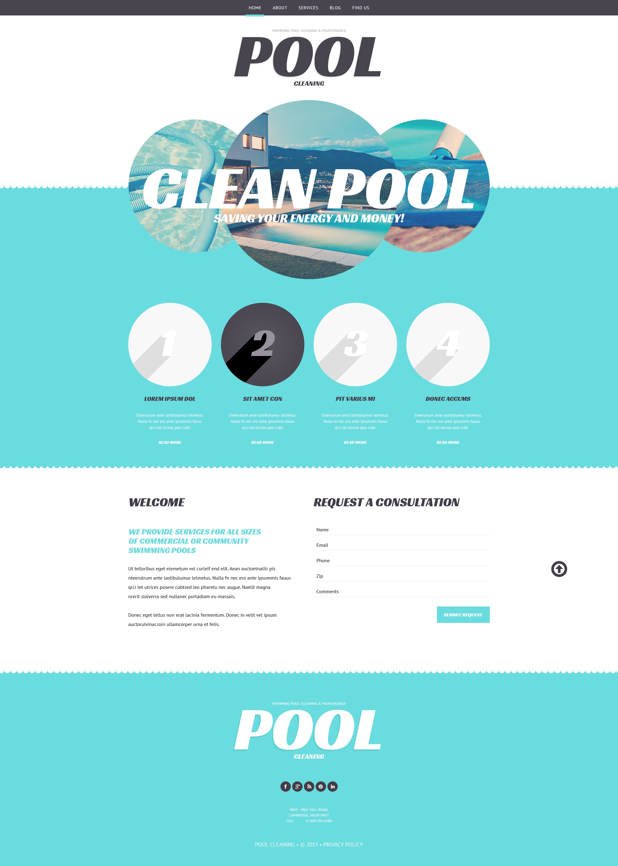 "Tema WordPress Responsive #47997 ""Pool Cleaning Business"" - screenshot"
