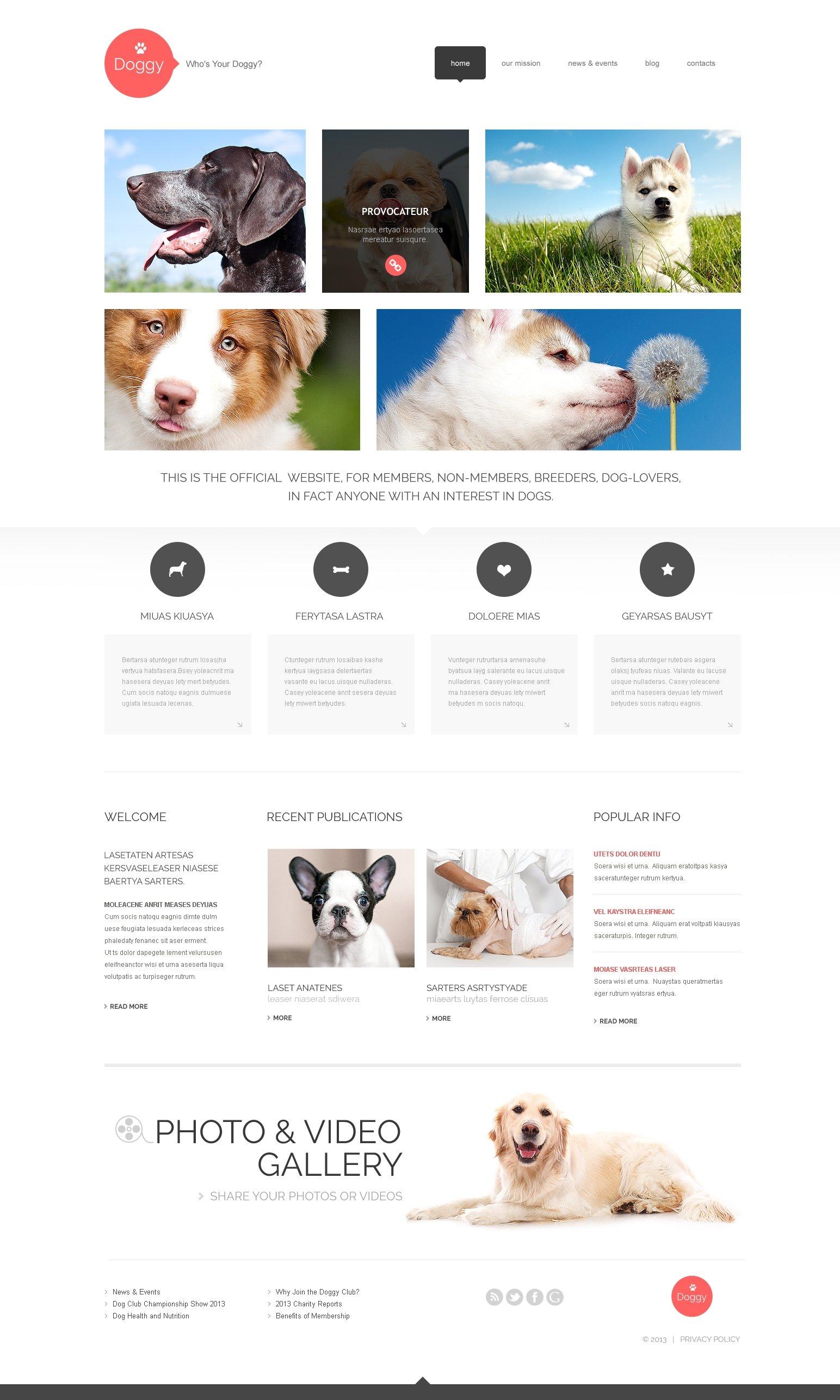 Template WordPress Responsive #47998 per Un Sito di Cani