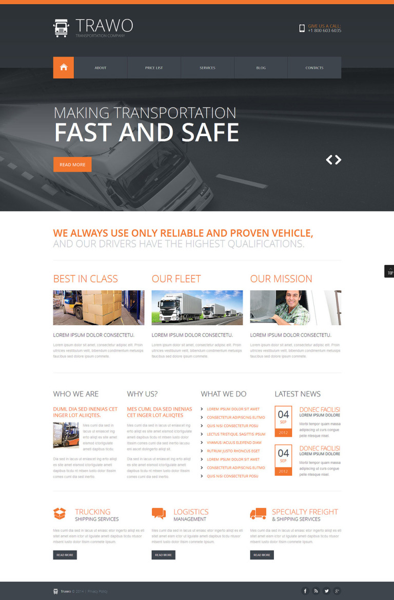 The Fastest Transportation Joomla Template New Screenshots BIG