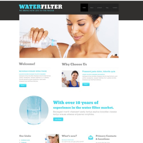 Water Filter - WordPress Template based on Bootstrap